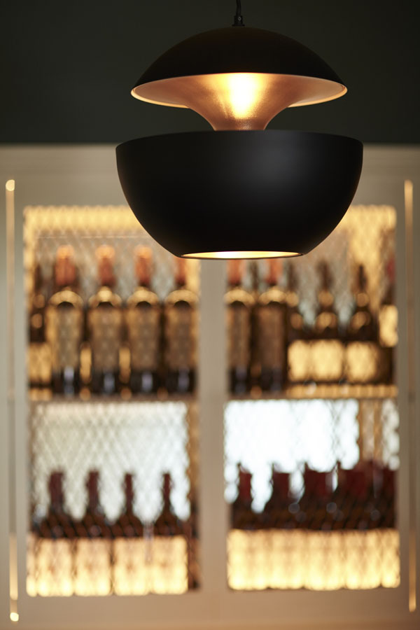 Bar area drinks seating pendant light, beautiful drinks display cabinate