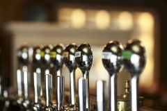 Bar taps display, shiny metal bar taps